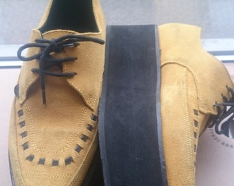 Psychobilly Mustard Yellow Suede Triple Sole Pointed Lace up Creepers