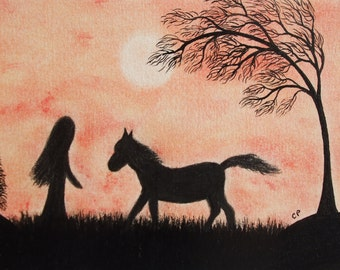 Horse Card, Girl Horse Card, Horse Tree Card, Horse Art Card, Girl Silhouette, Horse Art, Horse Tree Card, Horse Moon Card, Girl Card Horse