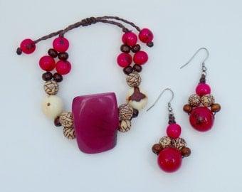 "Eco-Friendly Handmade ""Tagua Bracelet & Earrings ""Set"" ""FREE"" US SHIPPING"