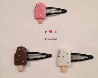 Popsicle resin snap hair clip