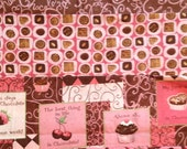 Susan Winget CHOCOLATE Patch, Cherries, Truffles and Words 100% Cotton Fabric for Quilting & Crafts ~  Fat QUARTER