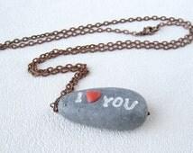 Imitation gray stone river polymer clay jewelery pendant Valentines gift Beach stone necklace stone pendant  pebble river stone necklace