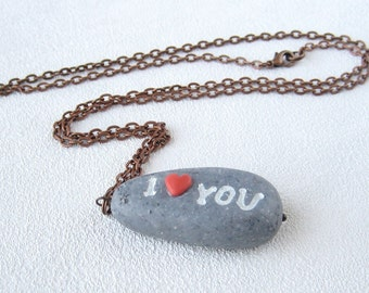 I love you gray rock jewelry stone pendant Valentines gift Beach jewelery stone beads necklace cute gift for lovers gift for her Imitation