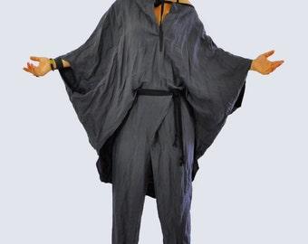 Oversize summer top and pants/Gray COTTON SET/Casual Top Pants set/Loose blouse/Maxi tunic/Gray cotton tunic/Oversize set/Handmade/T1214