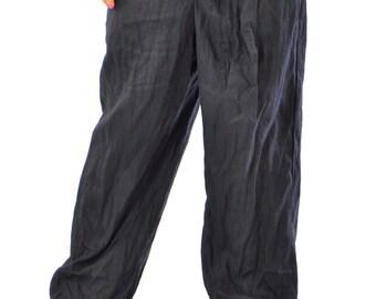 Black loose pants/Asymmetrical linen pants/Woman 100% Linen pants/Handmade pants/Black trousers/Linen casual Trousers/Summer pants/P1283