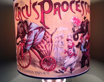 Vintage Victorian SideShow Circus Inspired Lampshade 'WELCOMETOTHECIRCUS'