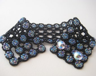 Black and iridescent glass bead lacy beadwork cuff bracelet