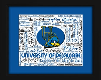 University of Delaware 16x20 Art Piece - Beautifully matted and framed behind glass