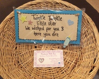 HANDMADE Baby Boy Plaque