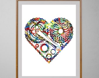 Heart bicycle watercolor print, I love Bicycle illustration, Wall Art, sports art, bike lovers gift [NO 90]