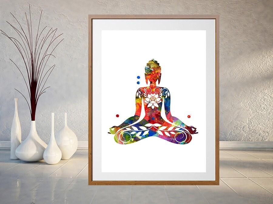Buddhist Wall Art sitting buddha art print yoga illustration poster buddhist
