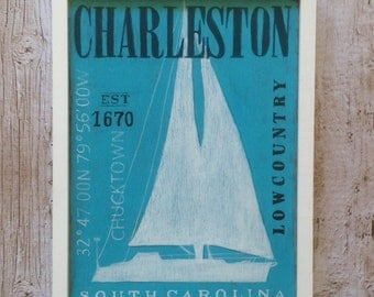 Charleston Nautical Wood Sign, Sailboat Silhouette