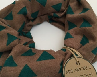Infinity Scarf - Teal Green Triangles on Mocha Cotton Jersey