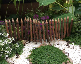 Wooden fairy garden fence