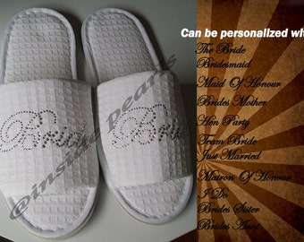 Rhinestone Personalized Bride Bridesmaid Hen Party I do Just Married Slippers flip flops sets robes