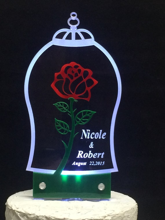 lighted beauty and the beast wedding cake topper and the beast inspired cake topper with led light 16858
