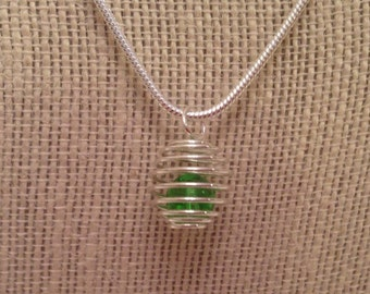Silver Spring Pendant - Silver Spring With Green Glass Beads - Spring Bead Jewelry
