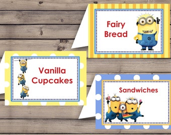 Minions Party Food Label Template Instant Download