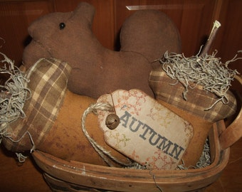 Primitive Grungy Squirrels & Acorns Homespun Rustic Folk Art Tucks Bowl Fillers OFG HAFAIR Teams