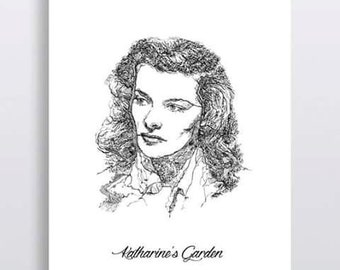 Katharine Hepburn Art, Katharine Hepburn Print, Hollywood classic symbol, The Philadelphia Story, Vintage illustration, Art and colection.