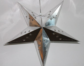 Paper Star Silver Foil Hanging Decoration