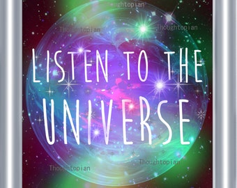 Listen to the Universe Art Print 8 x 10 Spirituality Metaphysical Psychedelic Visionary Art Music Festival Hippie Mystical Cosmic Style 2