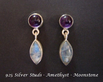 Stud Earrings: Sterling Silver Stud Earrings with Amethyst Gemstones and Moonstone Gemstones in these Stud Earrings, Silver Earrings 029