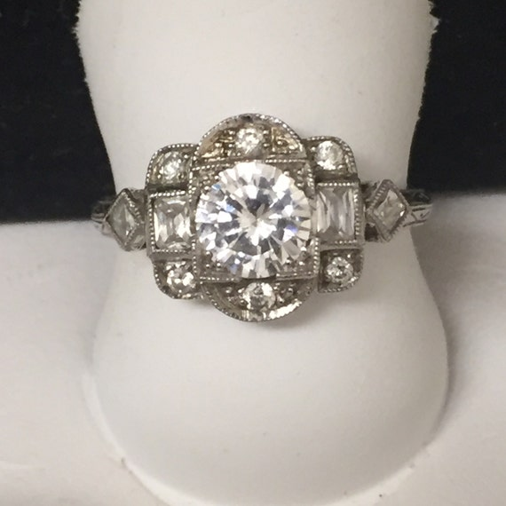 Antique inspired Art Deco style 18k white gold and by shopevintage