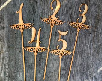 Wedding Table Numbers or Cake Topper