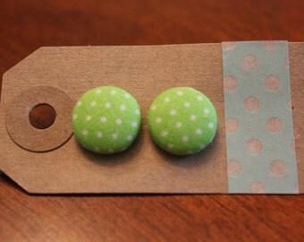 SALE || Green Dots Fabric Button Earrings - Medium