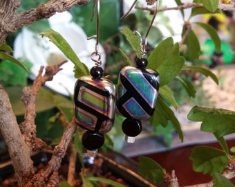 Geometric Czech Glass Beaded Earrings