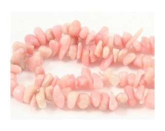 Wire chips beads Opal real Rose - 90 cm wire