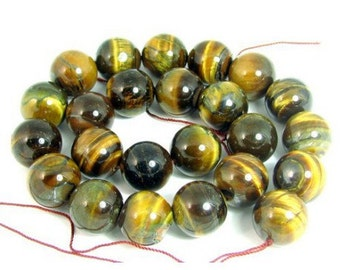 24 beads wire round 16mm 16 mm in Tiger eye Brown