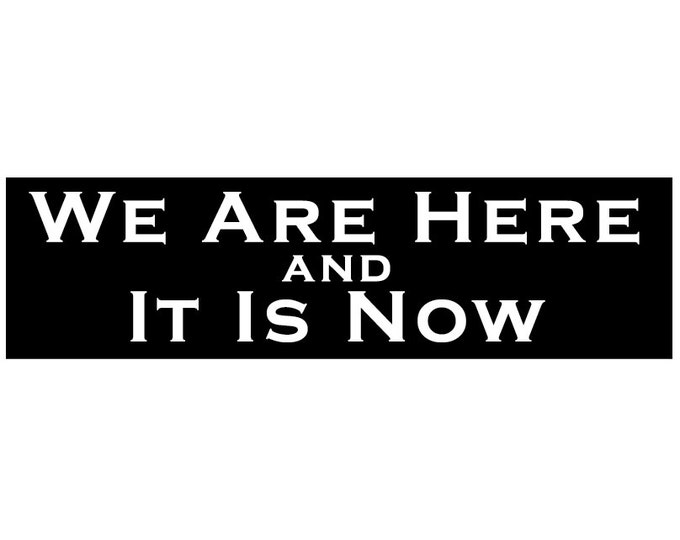 We Are Here and It Is Now Decal Vinyl or Magnet Bumper Sticker
