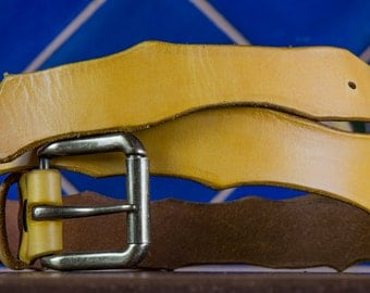 The Yellow Leather Belt   Handmade in the U.S.A.