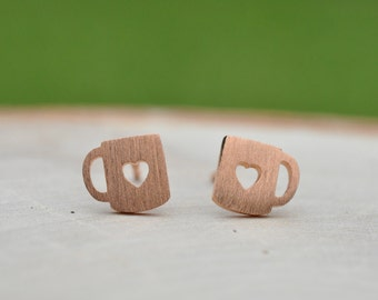 Adorable Matte Rose Gold Cup O' Love Mug Sterling Silver Earrings