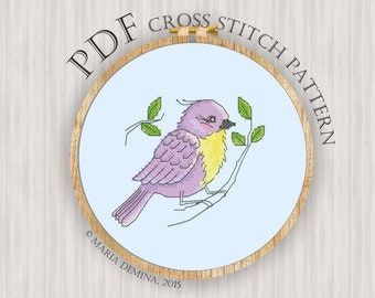 Lilac Birdie PDF cross stitch pattern / instant download; pattern finish picture available