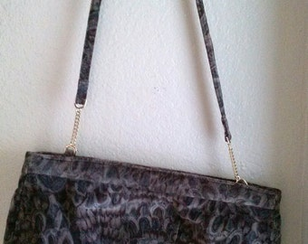 Velvet Carpetbags of America Blue/Brown/Taupe Purse