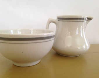 Shenango Dinerware creamer and sugar bowl with grey stripe, vintage grey stripe diner ware, grey restaurant ware, Shenango Pottery