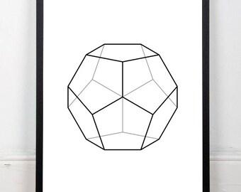 Dodecahedron printable, abstract art print, black and white print, platonic solids print, geometric drawing, sacred geometry, 18x24 print