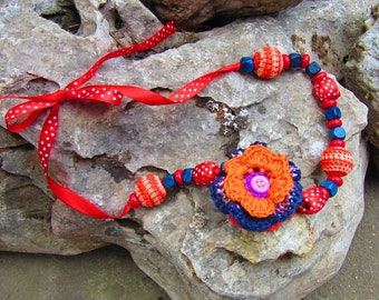 Red Crochet Necklace, Bohemian Necklace, Cotton Flowers Necklace, Double-sided, Summer Jewelry