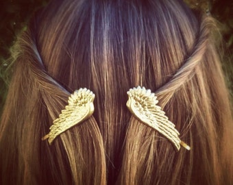 Large Angel Wings Hair Pins Gold Wings Bobby Pins Brass Hair Pins Hair Clips