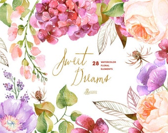 Sweet Dreams: 28 Watercolor Elements, hydrangea, roses, poppy, wedding invitation, floral, greeting card, diy clip art, purple flowers