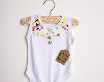 Girls clothing,peter pan inspired collar,gold buttons,baby girl bodysuit,trendy baby clothes,vintage baby clothes,bodysuite,baby girl shirts