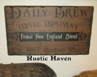 "Vintage Advertising Primitive Wooden Sign~Daily Brew 11.25"" x 20"""