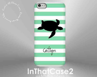 1257 // iPhone 6 Case iPhone 6 Plus Case iPhone 5 Case iPhone5sCase Samsung GalaxyS5case GalaxyS6case,customcase,turtle,stripe,monogram,name