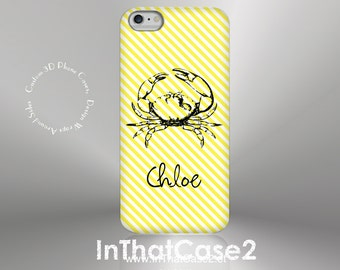 1262// iPhone 6 Case iPhone 6 Plus Case iPhone 5 Case iPhone5sCase Samsung GalaxyS5case GalaxyS6case,customcase,crab,stripe,monogram,name