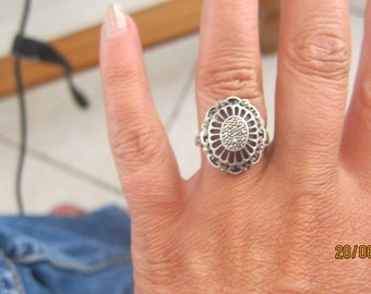 solid silver ring and Marcasite