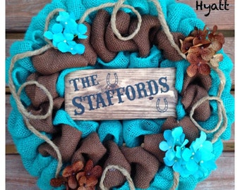 Western burlap wreath with family name
