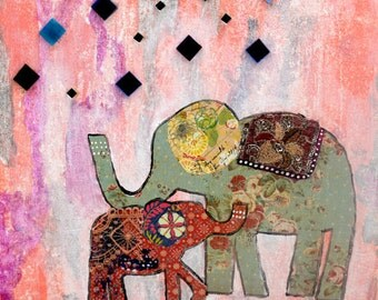 Never Alone - Archival Giclee PRINT of Original Mixed Media Painting